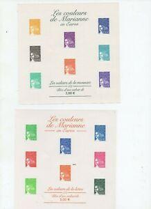 4-blocs-feuillets-neufs-luxe-les-couleurs-de-Mariane-2001-02
