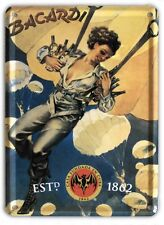 BACARDI BY PARACHUTE Small Metal Tin Pub Sign