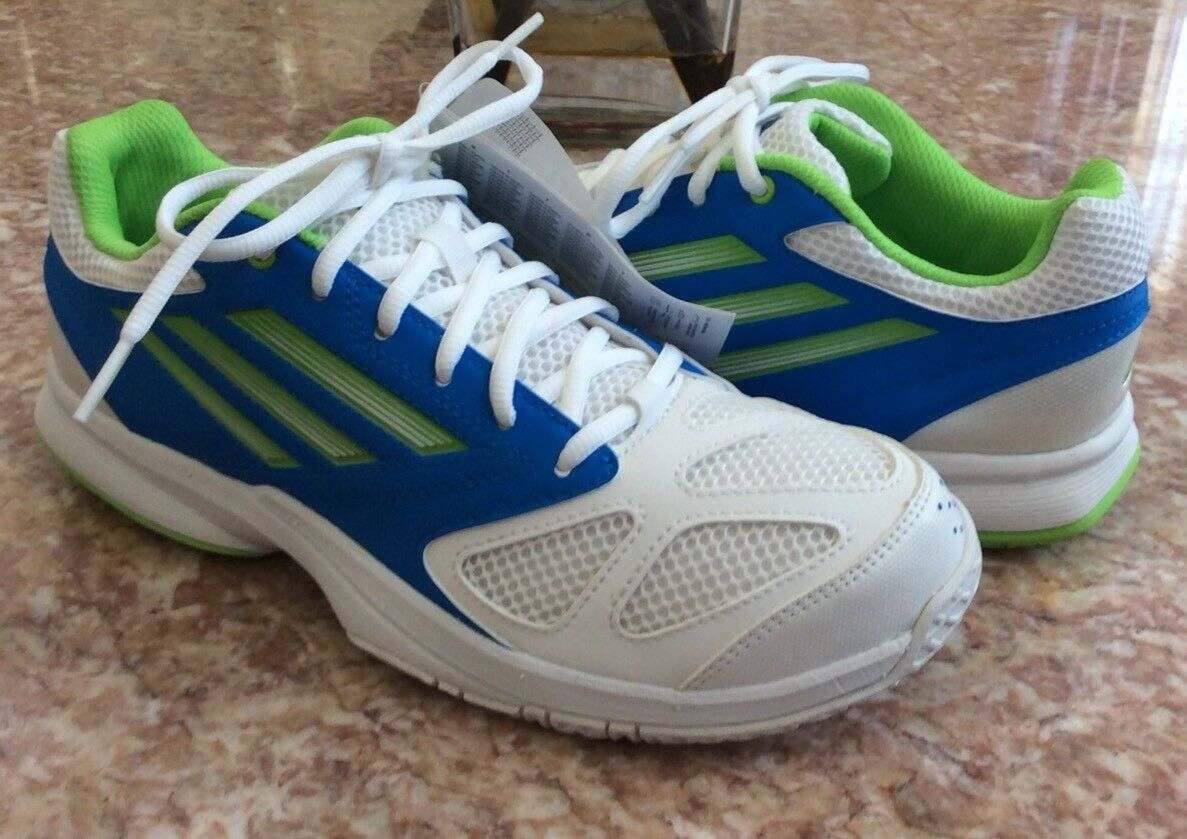 New Adidas Feather Team 2 Men's White bluee Green Handball shoes Size 7  G96456