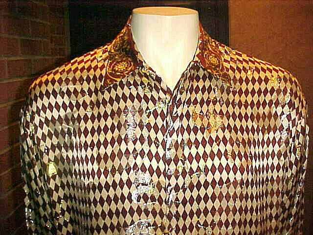 NWT RARE MENS CREME DE SILK METALLIC SILK SHIRT STYLE BROWN & BEIGE DIAMOND MED