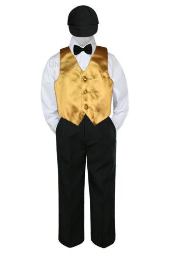 23 Color 5pc Boy Suits Vest Sets Baby Toddler Kid Formal Black Pants Tie Hat S-7