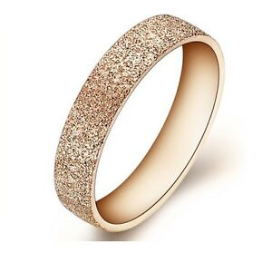 Edelstahl Rosegold Damen Ring Glitzer Verlobungsring Trauring Mode