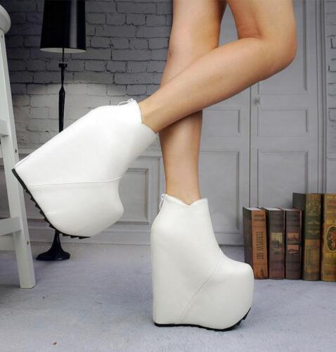 women super High Wedge Heel platform Zip Nightclub Shoes Ankle Boots black white