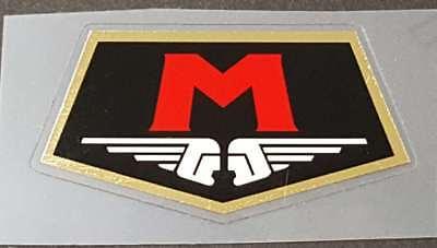 Motobecane Pentagon Head Badge Decal-Black with Mirror Gold Border sku Moto704
