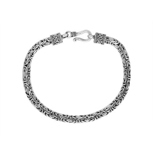 Handmade 3 MM Solide 925 Argent Sterling Oxydé Byzantin Bracelet 17.8cm 19.1cm,