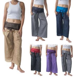 Womens-Thai-Fisherman-Pants-Ladies-Palazzo-Martial-Arts-Yoga-Cotton-Ladies