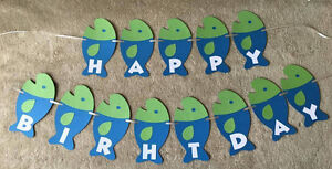 fishing fish happy birthday banner can be personalized with name and