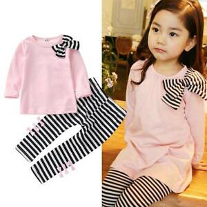 2PCS-Toddler-Kids-Girls-Bowkont-Tops-Striped-Pants-Leggings-Outfits-Set-Clothes
