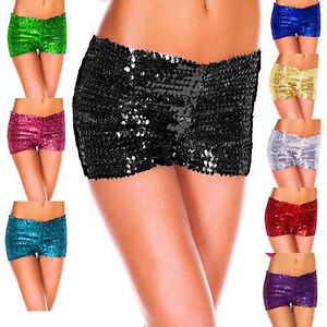 Sexy Women Soild Shinning Sequin Slim Casual Flat Angle Pants Bottoming Shorts
