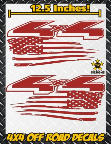 4x4 Off Road US Flag Truck Bed Decal Set GLOSS RED for Ford F-150 Super Duty