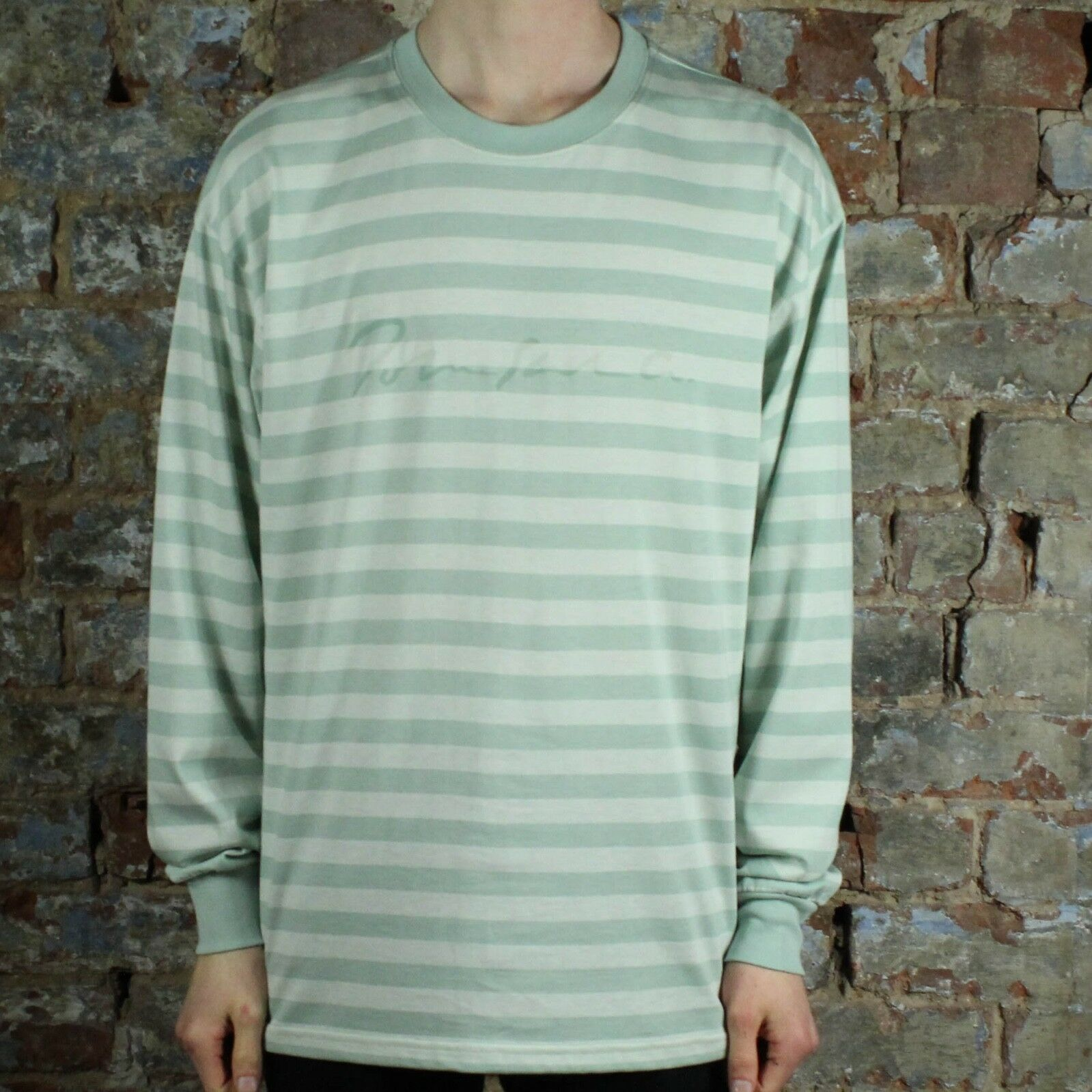 Polar Signature Striped Long Sleeve T-Shirt Tee in Stone Blau in Größe S L