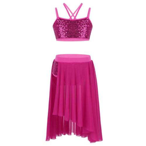 Kids Girls 2PCS Lyrical Dress Ballet Dance Costume Latin Show Leotards Dancewear
