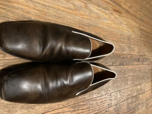 Mens Gucci Brown Loafers with White Trim size 9 D