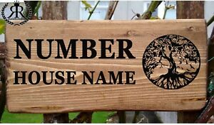 Personalised House Door Sign Tree of Life Willow Oak Wooden Name ...