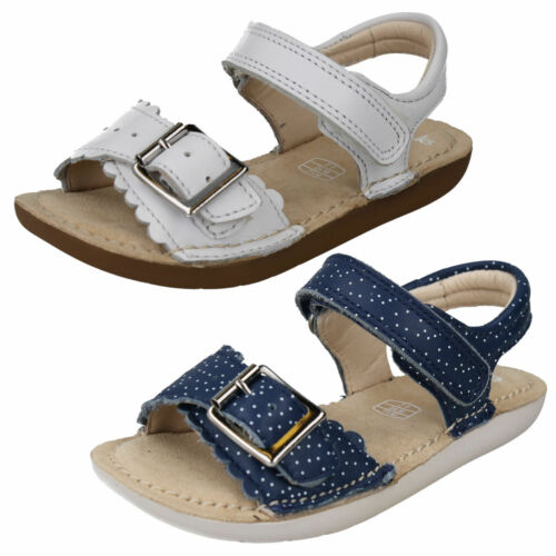 GIRLS CLARKS SILVER LEATHER SANDALS-IVYBLOSSOM INF