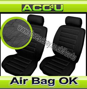 Noir Gris Look Cuir Airbag Ok Voiture 50-50 60-40 Fendue Arrière Seat Housses De