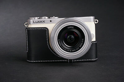 Genuine Real Leather Half Camera Case Bag Cover for Panasonic GM1 GM1S Black