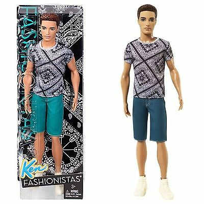 BARBIE FASHIONISTAS HANDSOME KEN DOLL GREEN JEAN SHORTS AND SHIRTS RYAN 2014