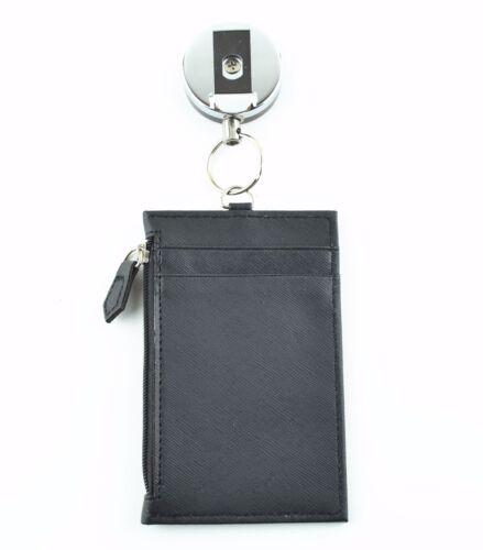 Noir 2 en 1 rétractable Reel et Deluxe Zipper Cuir Vertical ID Badge Holder