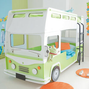 hochbett autobus kinder etagenbett bett in gr n und wei kinderbett bus ebay. Black Bedroom Furniture Sets. Home Design Ideas