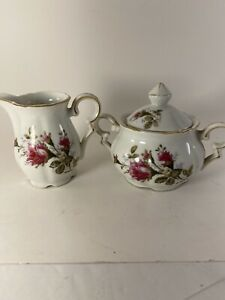 China-MOSS-ROSE-pattern-Creamer-EXCELLENT-amp-Sugar-Bowl-Made-In-Japan