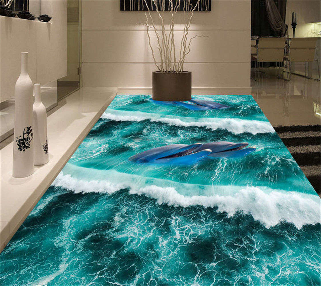 Dolphin Family 3D Floor Mural Photo Flooring Wallpaper Home Print Decoration