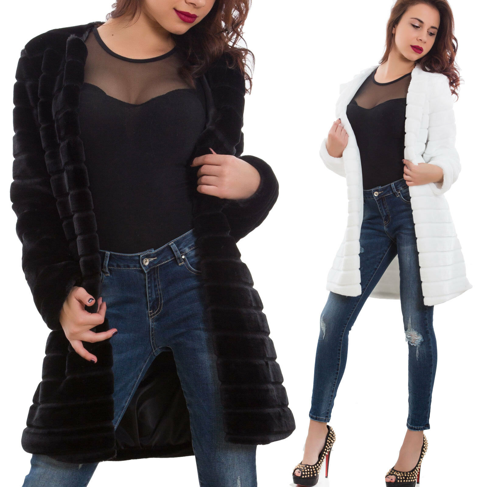 Piel ecológico women abrigo piel sintética manga larga nueva AS-2612