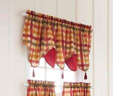 "Better Homes & Garden Red Tan Check Plaid TASSEL Valance NEW 48"" 52"" Window NIP"