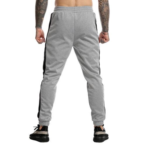 Men/'s Sports Gym Workout Stripe Pants Slim Fit Tapered Sweatpants Zipper Pockets