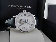 NEW Raymond Weil Men's Maestro Open Dial Leather Strap Watch 2227-STC-00659