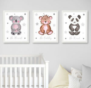 Safari-jungle-animaux-gris-Star-Nursery-Prints-Lot-de-3-chambre-de-bebe-Wall-Art-Decor