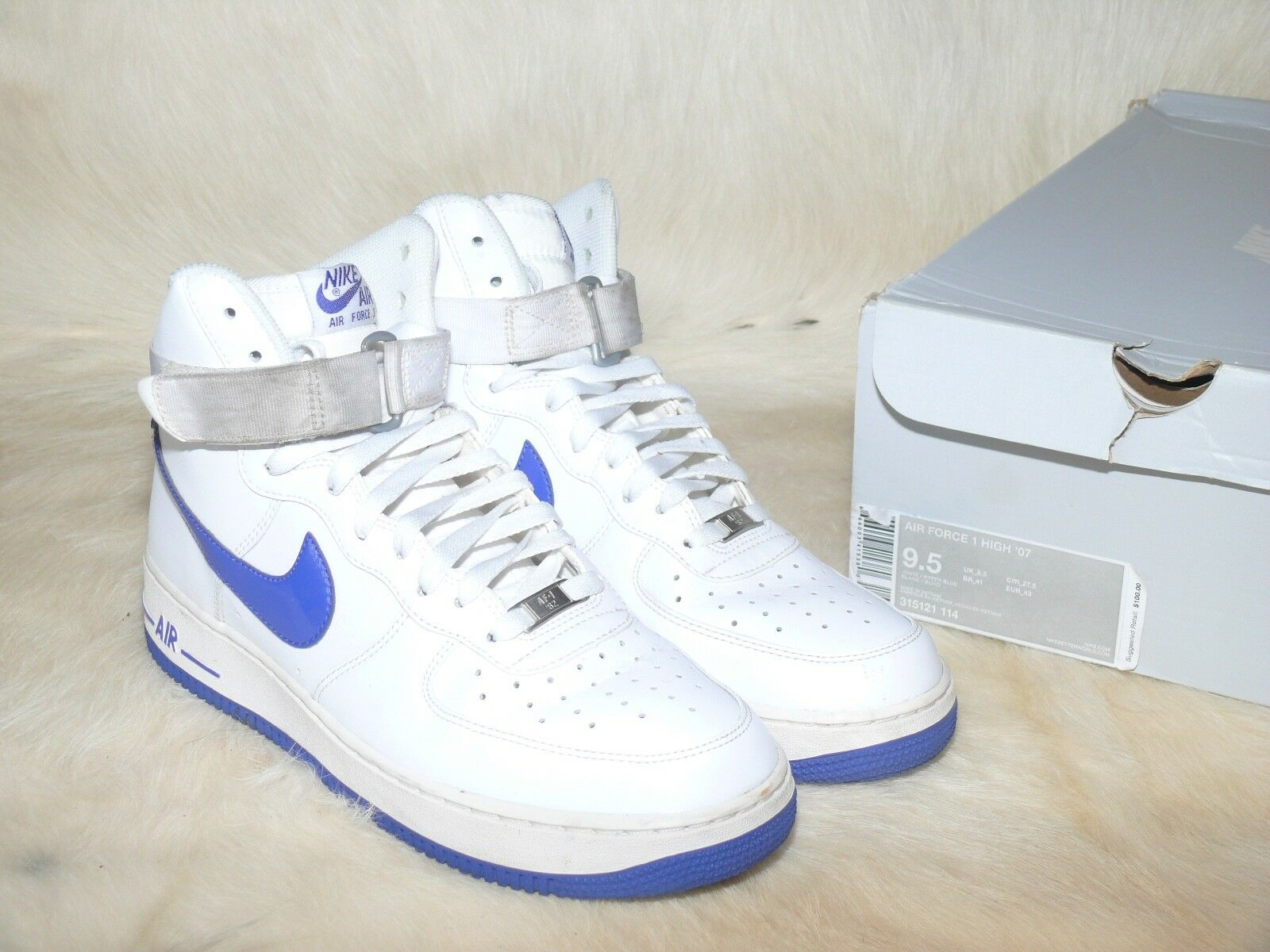 NIKE MEN WHITE/HYPER BLUE AIR FORCE 1 HIGH '07 315121-114 SZ 9.5 US W/ ORIGI BOX
