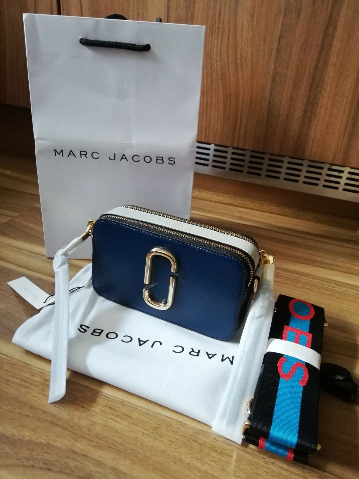 e7a6c5804c76 BNWT Marc Jacobs Logo Strap Snapshot Small Camera Blue Sea Multi Cross Body  Bag