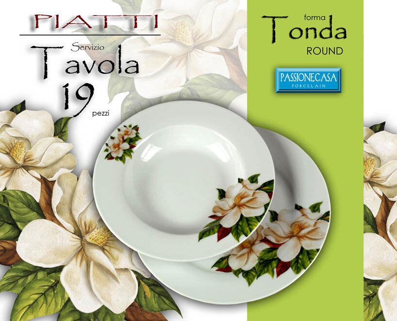 SET PIATTI TAVOLA 19 PEZZI TONDO SERVIZIO PORCELLANA BIANCA MAGNOLIA 388880