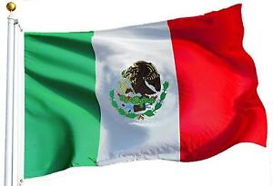 "Boat 12/"" x 18/"" Nylon Print Dyed Mexico Mexican Flag Canvas Header Brass Grommets"