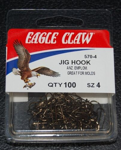 100 Eagle Claw 570 Size 4 Bronze 90 Degree Light Jig Hooks Do It Molds 570-04