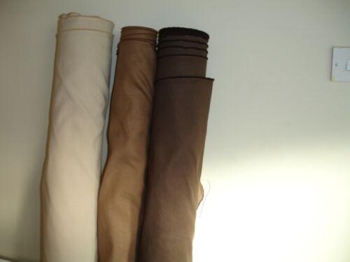 Soft Faux Suede curtain Fabric  10 METRE LENGTHS BROWN TAN CREAM