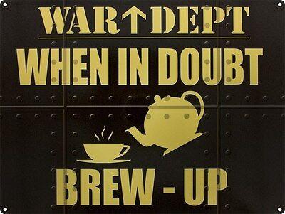 War Dept Brew Up Tea Coffee Cafe Diner Kitchen Old Garage Small Metal Tin Sign