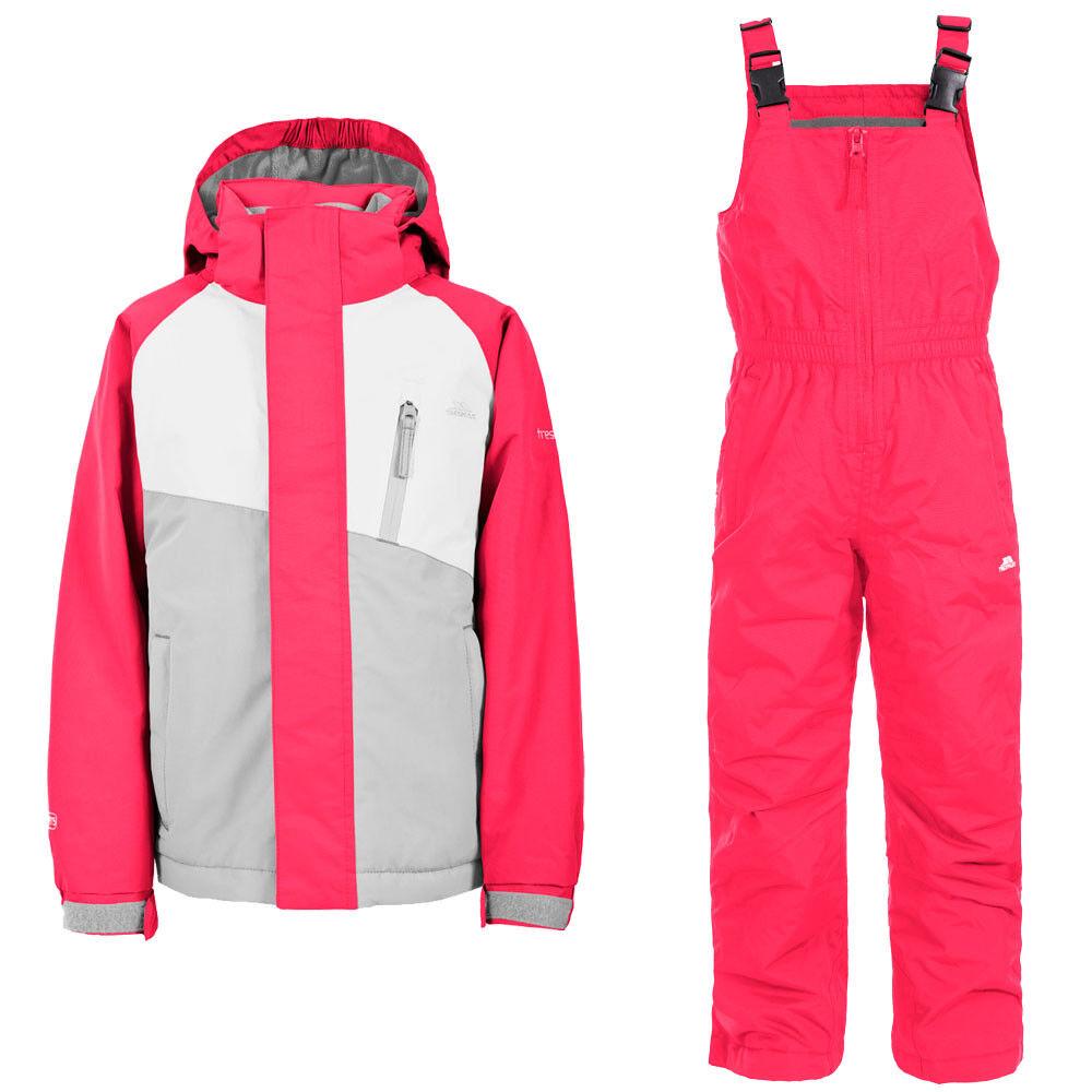 Trespass Crawley Girls Kids Ski Suit, Raspberry