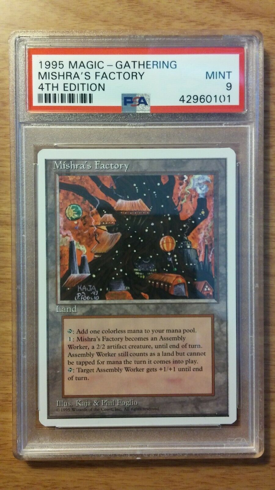 PSA 9 1995 MTG Magic - Gathering 4th Edition Mishra's Factory - MINT