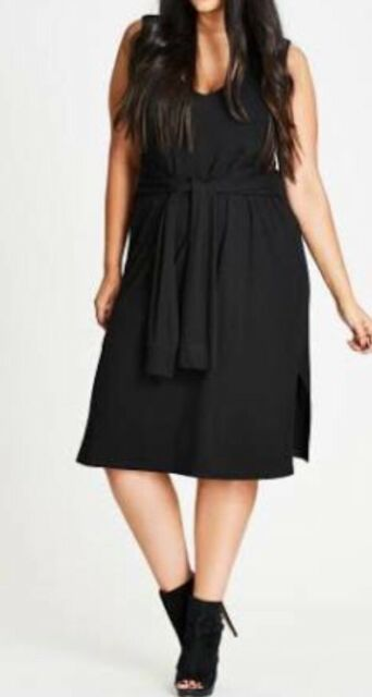 NEW CITY CHIC SLEEVE WRAP BLACK  DRESS SIZE 22 XL BEACH, PARTY RELAXED
