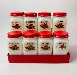 Vintage-Set-8-Milk-Glass-Red-White-Spice-Jars-Fruit-Metal-Spice-Rack-Red