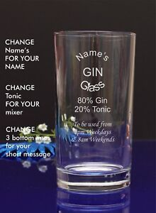 Engraved//Personalised Pint MUM/'S GIN GLASS Gift For Christmas//Nan 45