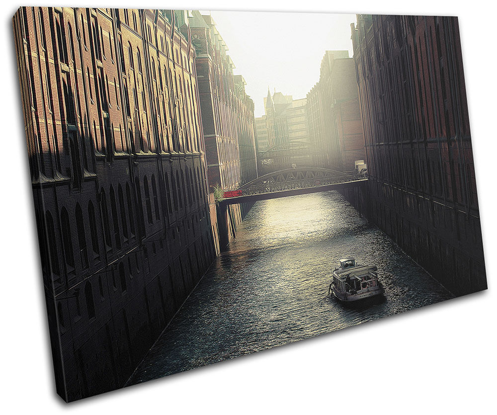 City Canal Evening Landmarks SINGLE TOILE murale ART Photo Print