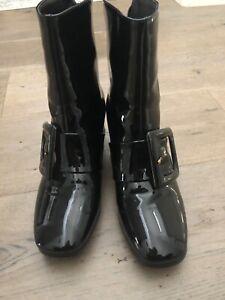a742efb37b6 Details about Black Patent Monk Strap Women's Booties- 7.5