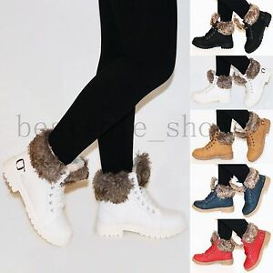 LADIES-WOMEN-ANKLE-BOOTS-COMBAT-FLAT-GRIP-SOLE-BOOTS-FUR-LINED-WINTER-SHOES-SIZE