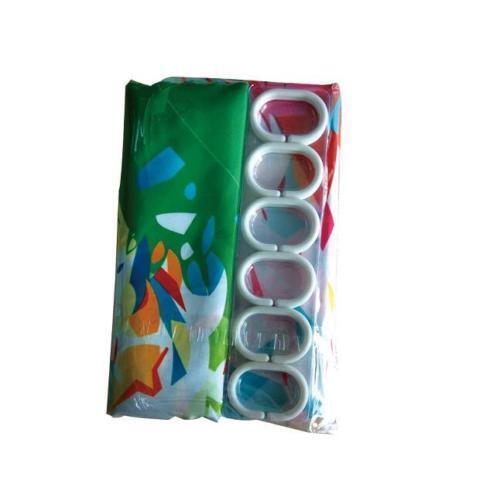 Green Cactus Orange Flowers Shower Curtain Liner Polyester Fabric Bathroom Hooks