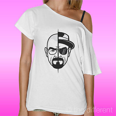 "T-SHIRT DONNA COLLO BARCA /"" BREAKING BAD HEISENBERG TWO FACE /"" ROAD TO HAPPINESS"