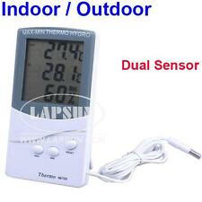 LCD Display Indoor Outdoor Digital Thermometer Hygrometer Dual Sensor MAX-MIN UK