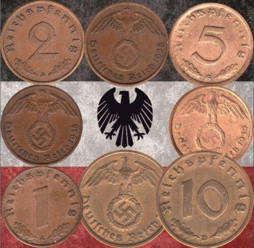 Set of  Germany 1 5 /& 10 Reichspfennig coins 1937-1939 WWII #194 2